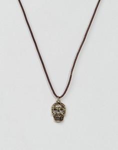 Черное кожаное ожерелье с подвеской в виде черепа Classics 77 - Черный