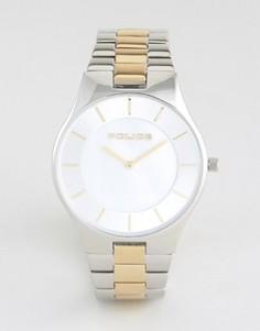 Мужские часы с серебристо-золотистым браслетом из нержавеющей стали и перламутровым циферблатом Police Splendor - Серебряный
