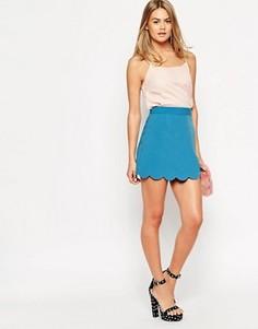 Мини юбка‑трапеция с фигурным краем ASOS - Синий