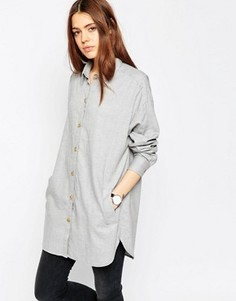 Мягкая саржевая oversize‑рубашка ASOS - Серый