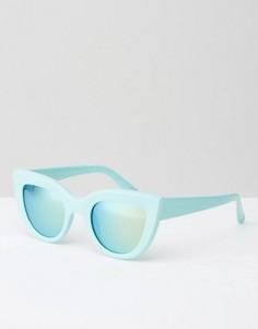 Мятные солнцезащитные очки в толстой кошачьей оправе Jeepers Peepers - Зеленый