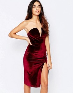 Бархатное платье-футляр бандо с боковым разрезом Glamorous - Красный