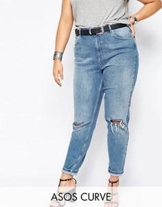 Светлые джинсы слим в винтажном стиле с прорехами ASOS CURVE Farleigh - Синий