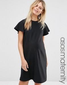 Трикотажное цельнокройное платье для беременных ASOS Maternity - Черный