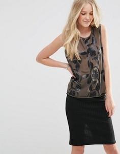 Блузка без рукавов с отделкой пайетками Vila Sosa - Черный