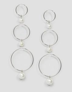 Набор из 3 серег-колец с искусственным жемчугом ASOS - Серебряный