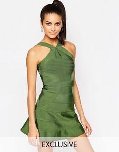 Бандажное приталенное платье WOW Couture - Зеленый