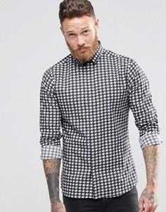 Облегающая рубашка в гусиную лапку Noose & Monkey - Черный