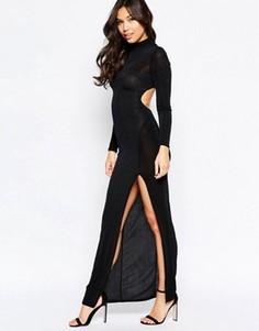 Платье макси с длинными рукавами и вырезом сзади Twin Sister - Черный