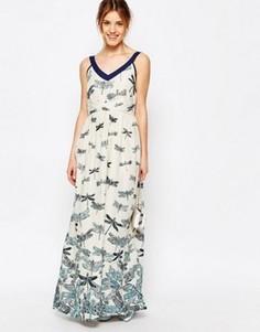 Платье-майка макси с принтом стрекоз Uttam Boutique - Синий