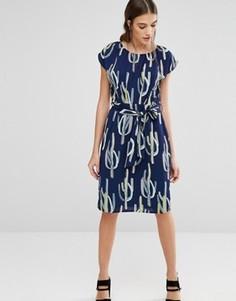 Платье с принтом кактусов Trollied Dolly Elastic Fantastic - Синий