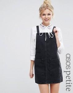 Короткий черный выбеленный джинсовый сарафан ASOS PETITE - Черный