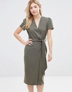 Платье миди с запахом Alter - Зеленый