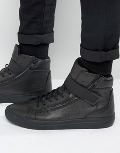 Высокие черные кожаные кеды Aldo Weberville - Черный