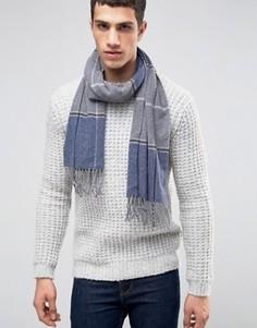 Синий шарф из овечьей шерсти в клетку ASOS - Синий
