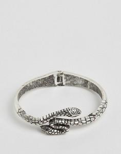 Незамкнутый браслет-манжета с отделкой в виде змеи ASOS - Серебряный