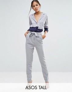 Тканые брюки‑галифе с поясом оби ASOS TALL - Серый