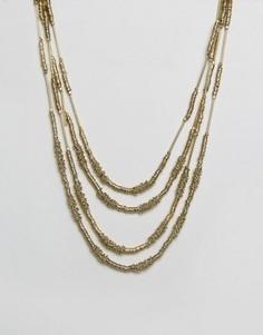 Золотистое ожерелье в несколько рядов Raga - Золотой