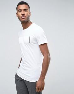 Длинная футболка с закругленным низом и принтом на груди Jack & Jones Core - Белый
