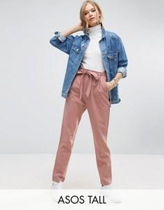 Льняные брюки галифе с поясом ASOS TALL - Розовый