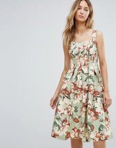 Приталенное платье миди с цветочным принтом в винтажном стиле Vesper - Зеленый