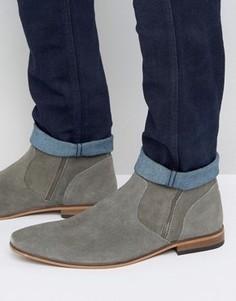 Серые замшевые ботинки челси с двумя молниями ASOS - Серый