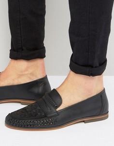 Черные плетеные кожаные лоферы ASOS - Черный