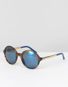 Круглые солнцезащитные очки с зеркальными стеклами Gucci - Коричневый