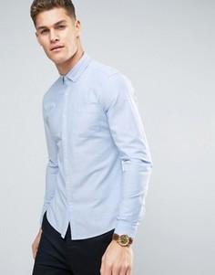 Узкая эластичная синяя оксфордская рубашка ASOS - Синий
