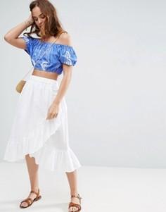 Хлопковая юбка миди с запахом и кромкой-оборкой ASOS - Синий