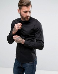 Узкая эластичная черная рубашка с воротником на пуговицах ASOS - Черный