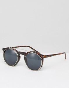 Круглые солнцезащитные очки в черепаховой оправе Jack & Jones - Коричневый