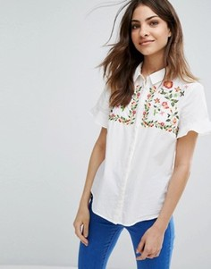 Рубашка с рюшами на рукавах и вышивкой Vero Moda - Белый