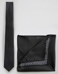 Черный галстук в горошек и платкок для нагрудного кармана Selected - Черный