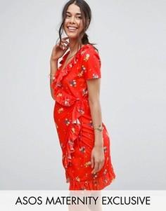 Платье мини с оборками и принтом ASOS Maternity - Красный