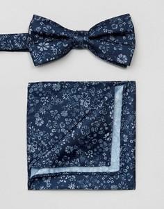 Галстук-бабочка и платок для пиджака с цветочным принтом Selected Homme - Темно-синий