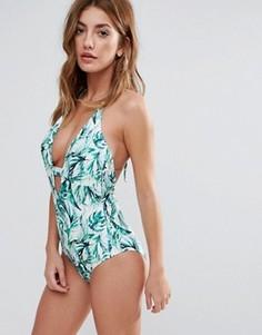 Слитный купальник с тропическим принтом Boohoo - Мульти