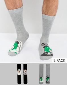 Набор из 2 пар носков с дизайном на тему свадьбы ASOS - Мульти