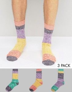 Набор из 3 пар толстых носков в стиле колор блок ASOS - Мульти