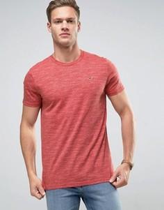 Фактурная зауженная футболка с вышитым логотипом-чайкой Hollister - Красный