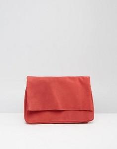 Замшевый клатч с откидным клапаном Pieces - Красный