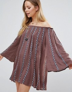 Платье с полосками и открытыми плечами Lunik - Коричневый