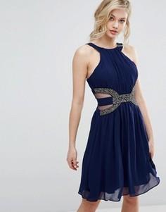 Короткое приталенное платье с отделкой на талии Little Mistress - Синий