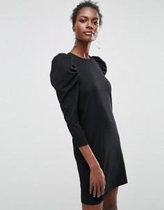Креповое платье мини с пышными рукавами ASOS - Черный