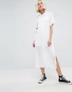 Платье-рубашка миди с короткими рукавами Mbym - Белый