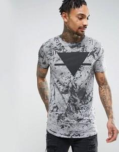 Удлиненная обтягивающая футболка с принтом и закругленным подолом ASOS - Серый