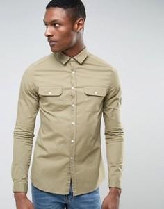 Узкая светло-зеленая рубашка с двумя карманами ASOS TALL - Зеленый