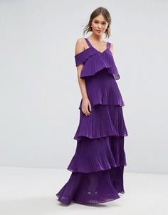Ярусное плиссированное платье макси с открытыми плечами True Decadence - Фиолетовый