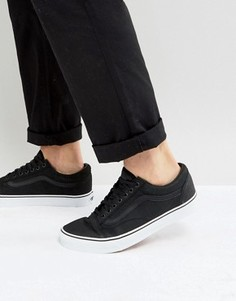 Черные кожаные премиум-кеды Vans Old Skool - Черный