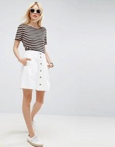 Белая короткая расклешенная юбка из денима на пуговицах ASOS - Белый